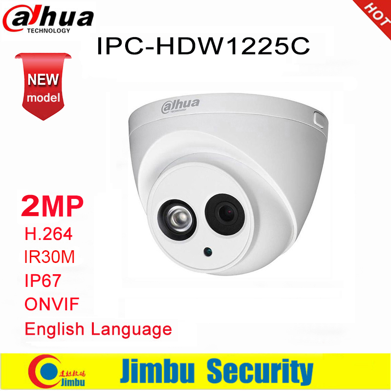 Dahua IP Camera 2MP IPC-HDW1225C H.264 IP67 IR30M  ONVIF Dome Camera Surveillance Network  3DNR Day/Night