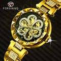 FORSINING יוקרה מותג אוטומטי שעון נשים יהלומים אייס מתוך פרח עיצוב נירוסטה צמיד זהב מכאני שעוני יד