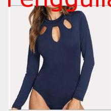 Sexy Women's Turtle Neck Long Sleeve Elastic Skinny Jumpsuit Bodycon Skinny Short High Top Jumpsuit Briefs Short Jumpsuit caged neck skinny solid jumpsuit