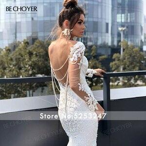 Image 5 - Robe de mariée à manches longues dentelle sirène Appliques perlée dos nu Vestido de Noiva 2020 lumière princesse BECHOYER N162 robe de mariée