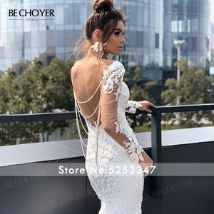 Image 5 - Vestido de novia de manga larga con encaje y apliques de sirena, espalda descubierta con cuentas, 2020