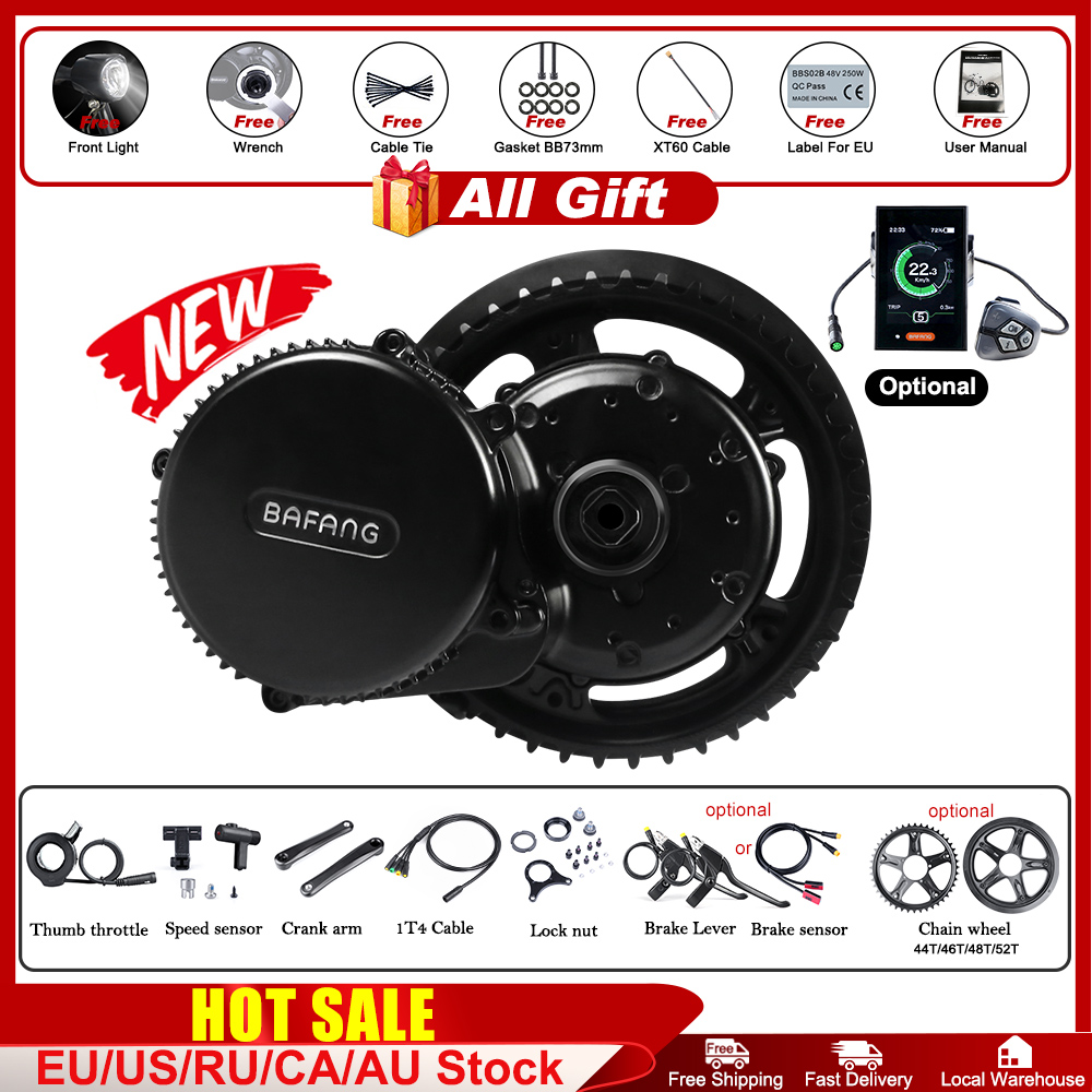 48V 750W Bafang BBS02B Mid Drive Motor Ebike Elektrische Fahrrad Conversion Kits 68-73mm E-bike 8FUN Leistungsstarke Motor Neueste Version