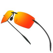 HBK Square Unbreakable Polarized Sunglasses Men Rimless TR90 Lightweight 2021 Driving Sun Glasses Male Brand Design Shades UV400