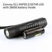 Comboio preto s11 com xhp50.2/sst40 led, 26650 lanterna, luz da tocha, com 26650 bateria para dentro