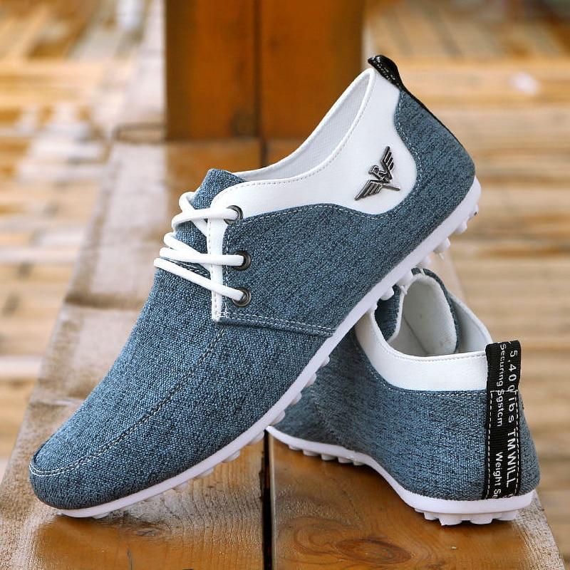 Brand Casual Shoes For Men Lace-up Linen Cloth Breathable Mens Canvas Shoes Moccasins Flats Driving Footwear Zapatos De Hombre