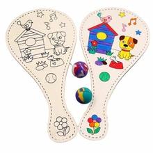Развивающие игрушки Новые DIY Ручная роспись Pat Ball Ручная игра живопись деревянная игрушка DIY ракетка граффити игрушки для детей