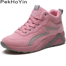 Woman Leather High Top Fashion Sneakers Women Flats Shoes Zapatos Mujer Female Boots Shoes Outdoor Womens Casual Shoes Pink 2019 цена 2017