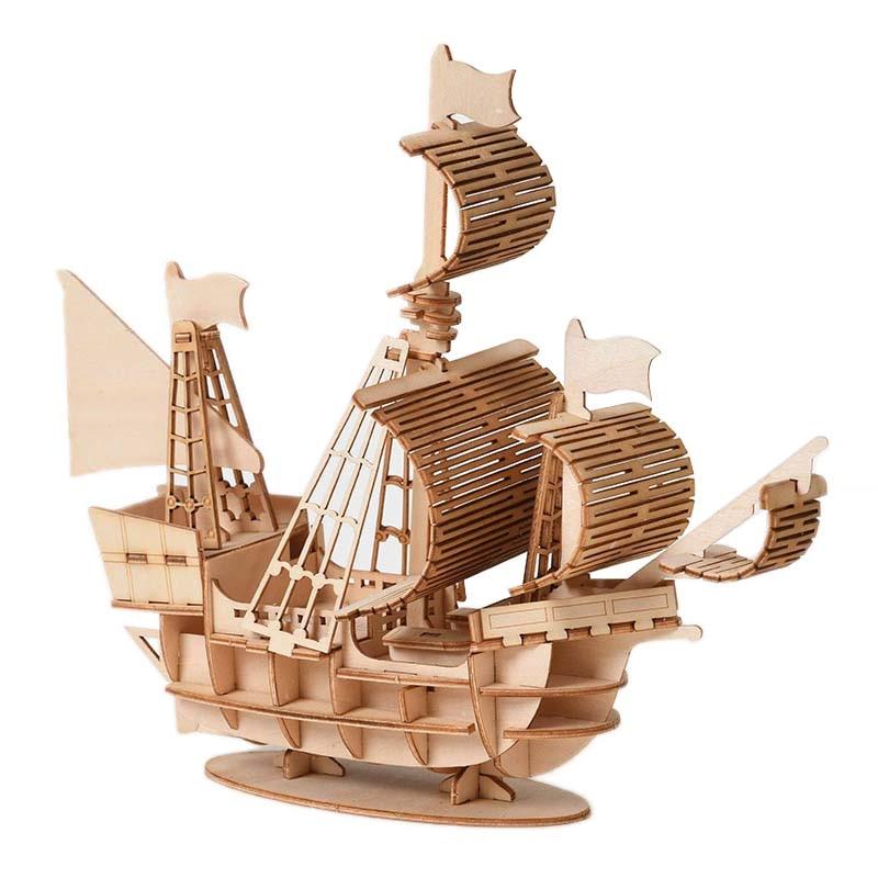 Wooden Puzzle Toy Assembling Model DIY Sailing Ship Toys 3D Desk Decor Craft Kits Children Kids Toy