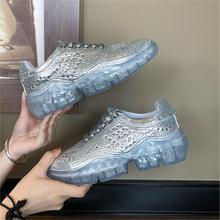 YeddaMavis Shoes Silver Rhinestone Daddy Women Sneakers Korean Wild Lace Up Womens Woman Trainers