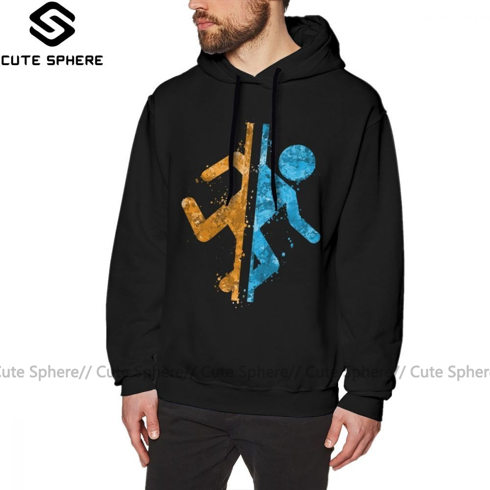 Portal Hoodie Portal Splatter Hoodies Cotton XXX Pullover Hoodie Blue Nice Long Warm Outdoor Men Hoodies