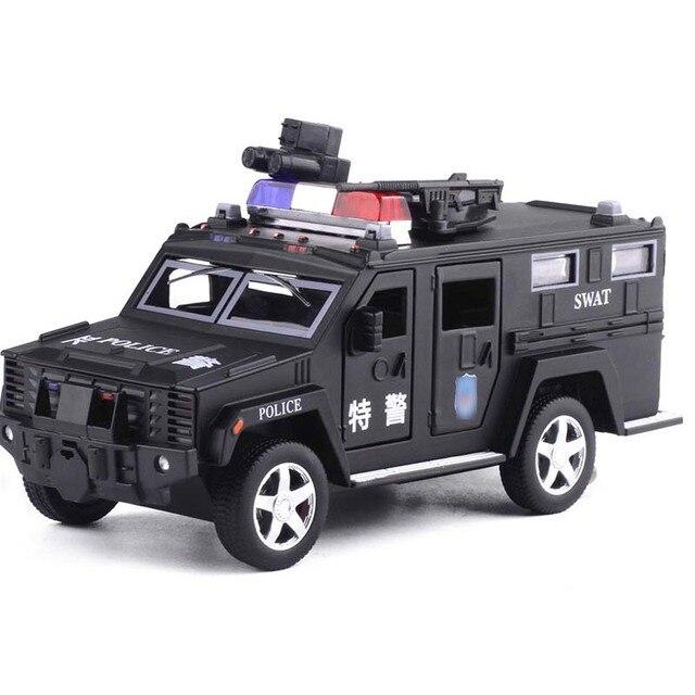 1:32 משטרת SWAT נגד חטיפה משוריין רכב משאית סגסוגת רכב דגם עם מוסיקלי מהבהב למשוך בחזרה עבור תינוק צעצוע משלוח חינם