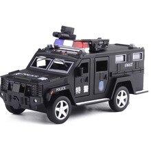 1:32 polizei SWAT Anti hijacking Gepanzerte Fahrzeug Lkw Legierung Auto Modell Mit Musik Blinken Pull Zurück Für Baby Spielzeug freies Verschiffen
