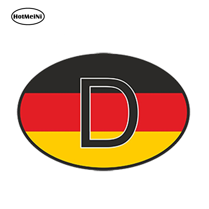 HotMeiNi 13cm X 9.1cm Car Styling D Germany Country Code Oval With German Flag Car Sticker Helmet Waterproof Trunk Accessories