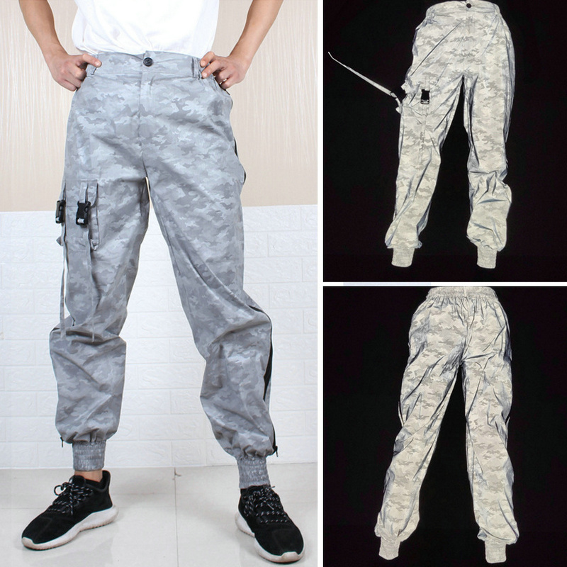2020 New Men Reflective Hip Hop Light Shiny Pants Male Streetwear Joggers Sweatpants Autumn Loose Camouflage Harem Trousers