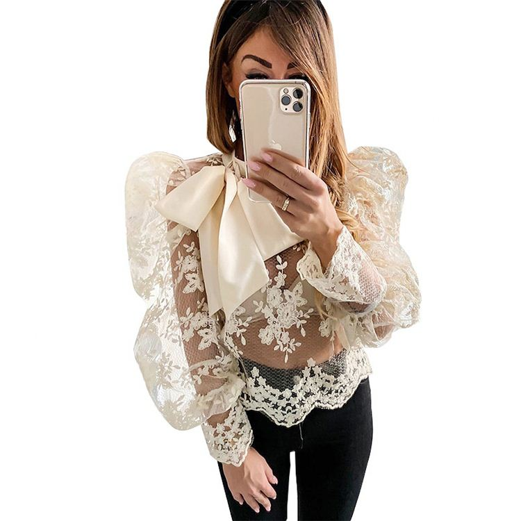 See Through Women Mesh Blouse Top Shirts O-neck Lace Puff Sleeve Tops Women Casual Bow-knot Blouses Tops for Women 2020 Sexy