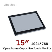 HDMI monitor 1024*768 projected capacitive touchscreen monitor VGA DVI HDMI interface optional, 250cd/m2 OB OPM150