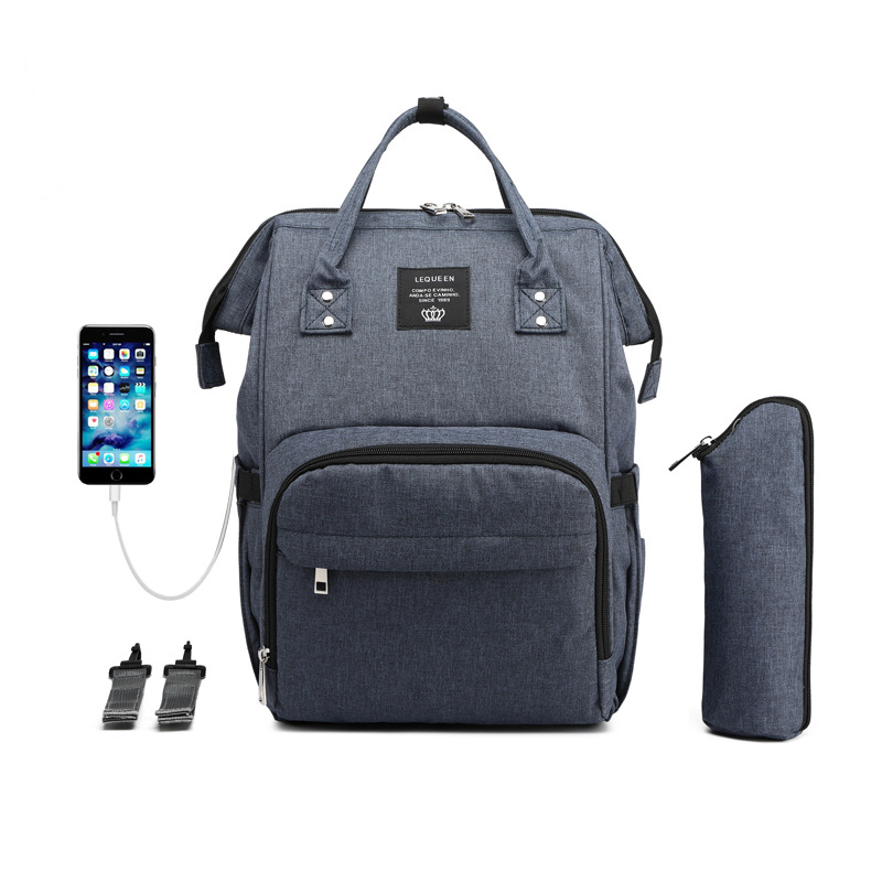 Lequeen Multifunction Diaper Bag USB Charging Backpack Large Capacity Mommy Bag Nursing Diaper Backpack Stroller Diaper Bag Baby