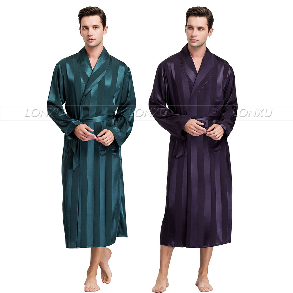 Mens Silk Satin Pajamas Sleepwear Robe Robes Bathrobe Nightgown S~3XL__For XMAS Gifts