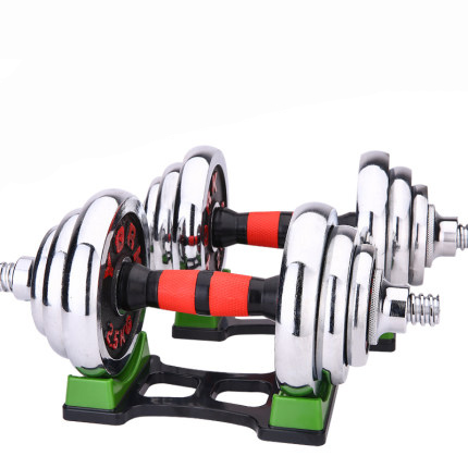 1set 15kg Adjustable dumbbell men's fitness equipment household boxed electroplated dumbbell barbell dual purpose