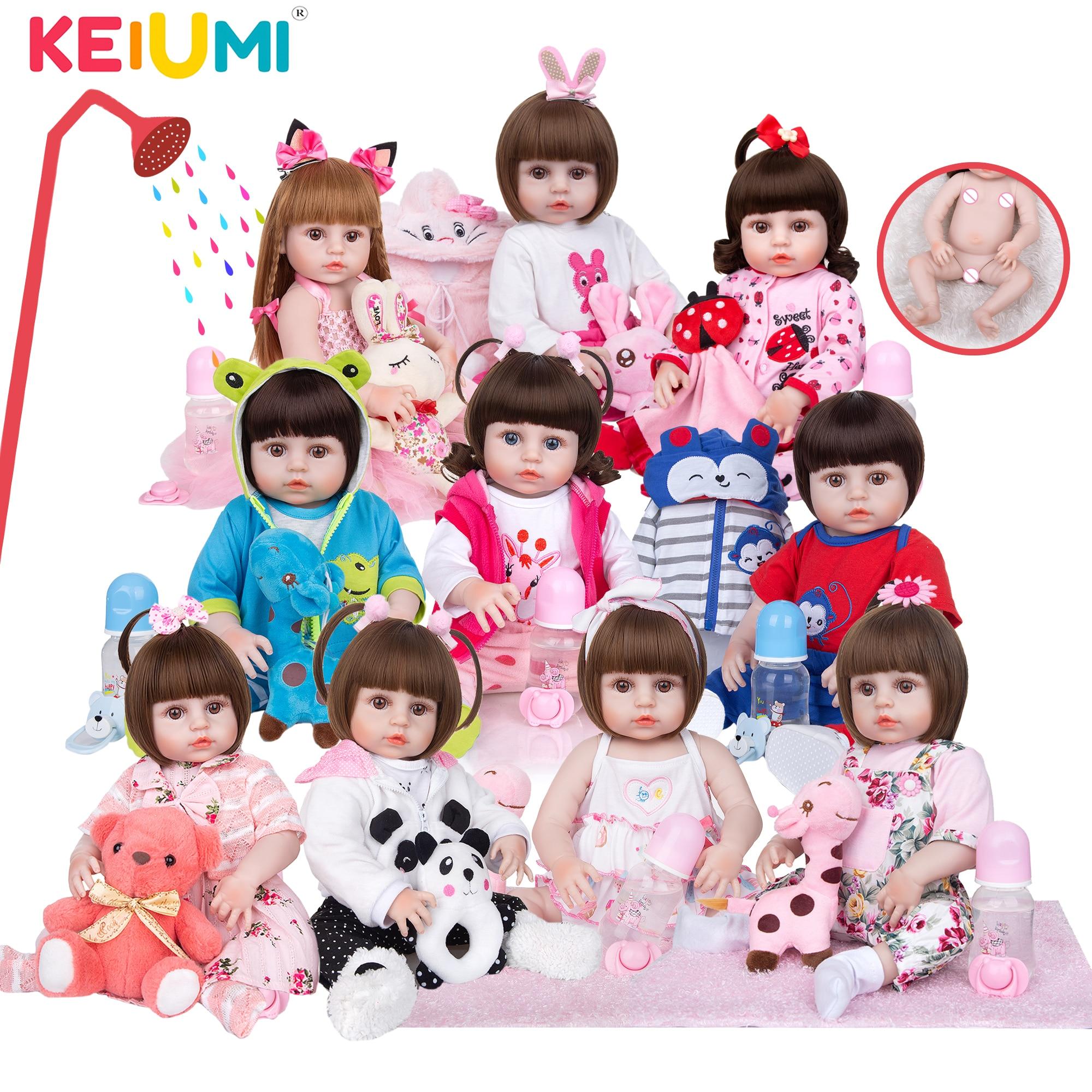 Großhandel KEIUMI Volle Silikon Vinyl Reborn Baby Puppen Mode Wasserdichte Puppe Baby Spielzeug Für Kinder Geburtstag Geschenke Playmate