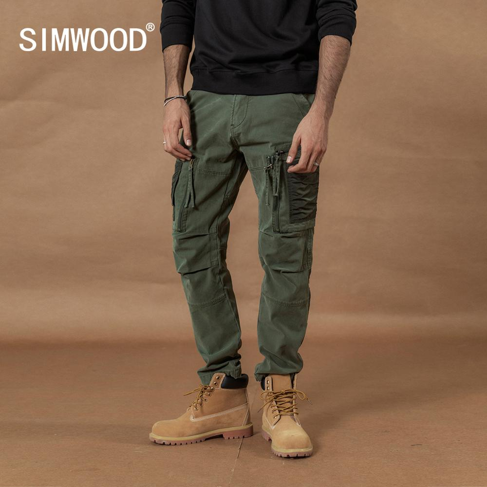 SIMWOOD 2019 Multi-Pocket Combat Cargo Pants Patchwork Contrast Color Hip Hop Streetwear Trousers Plus Size  Tactical Pants