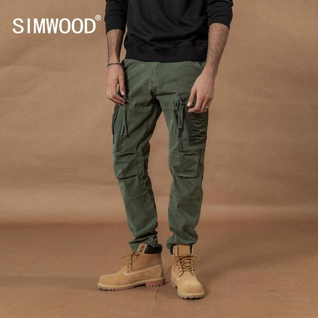 SIMWOOD 2020 Multi Pocket Combat Cargo Pants patchwork contrast color hip hop streetwear trousers plus size  tactical pants