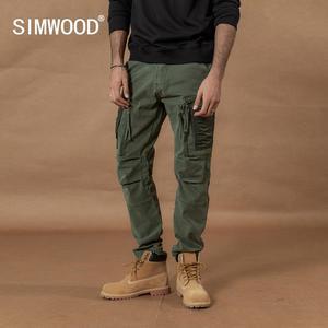 Image 1 - Мужские брюки карго SIMWOOD, тактические брюки с множеством карманов, уличные штаны плюс сайз в стиле хип хоп с накладками контрастного цвета, 2019
