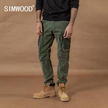 Simwood 2020 マルチポケット戦闘カーゴパンツパッチワークコントラスト色ヒップホップストリートズボンプラスサイズ戦術的なパンツ