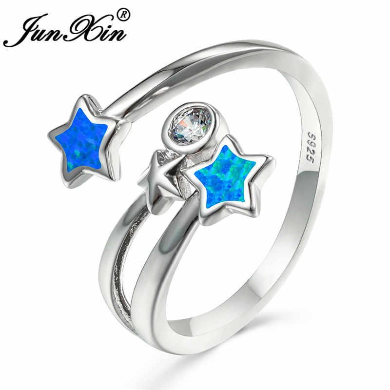 Милое кольцо со звездой, 925 серебряный цвет, синий огненный опал, кольца для женщин, открытые обручальные кольца, циркон, изысканные обручальные ювелирные изделия на безымянный палец