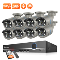Techage 8CH POE NVR Kit 1080P CCTV Camera System Two way Audio 2MP Outdoor Waterproof Ai IP Camera POE Home Security Video Kit