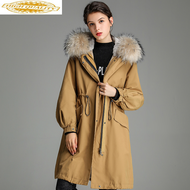 2019 Parka Real Fur Coat Female Real Rabbit Fur Winter Jacket Women Raccoon Fur Collar Warm Long Coat Manteau Femme Y953