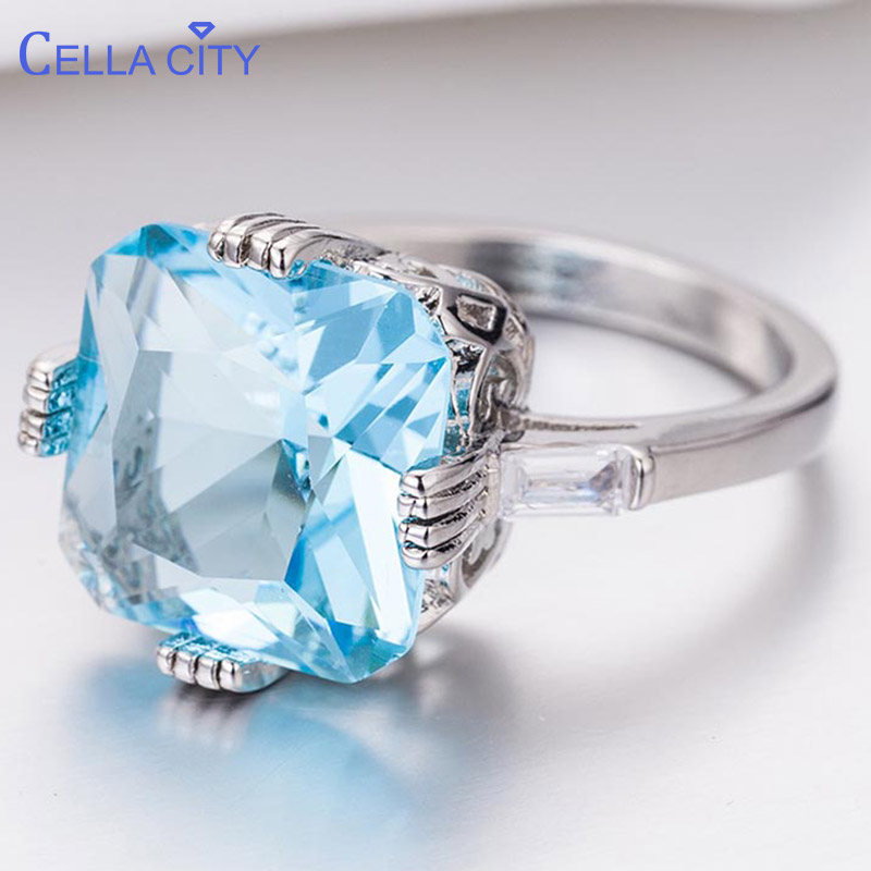 Cellacity Classic 925 Silver Ring For Women With Square Light Blue Topaz Lady Charm Jewelry Anniversary Gifts Wholesale