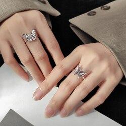 Prawdziwe 925 Sterling Silver Butterfly otwarte pierścienie Vintage Hollow Butterfly regulowane pierścienie dla kobiet dziewczyn świąteczne prezenty urodzinowe