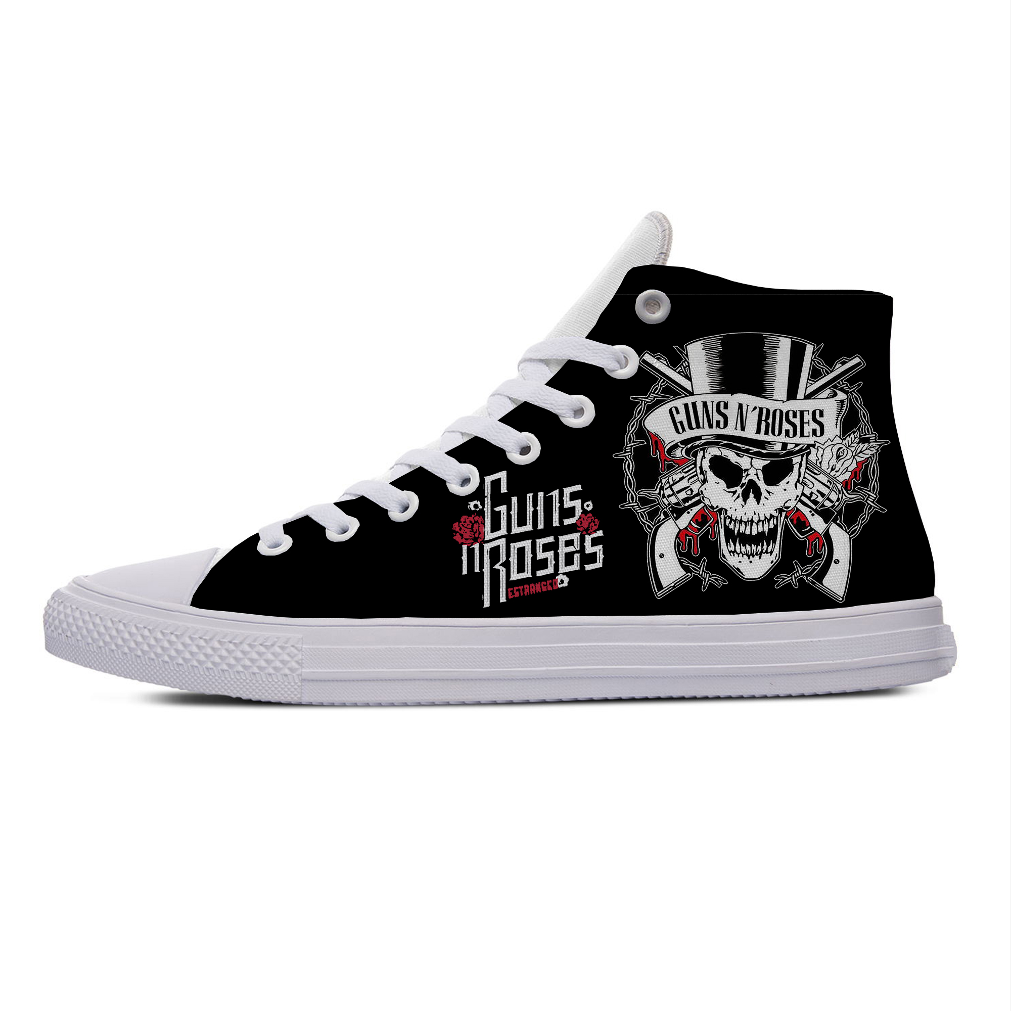 GUNS N ROSE Rock Band Cool Fashion Funny Popular Casual Canvas Shoes High Top Breathable Lightweight Sneakers 3D Print Men Women