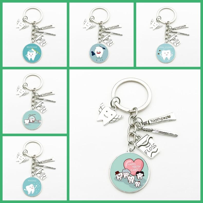 New Creative Dental Tooth Pendant Key Chain Cute Dental Floss Box Angel Dentist Charm Keychain Men Women Gifts Fashion Souvenirs(China)