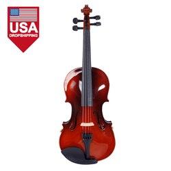 DropShipping Glarry 1/2 Akustische Violine Fall Bogen Kolophonium Saiten Tuner Schulter Rest Kaffee