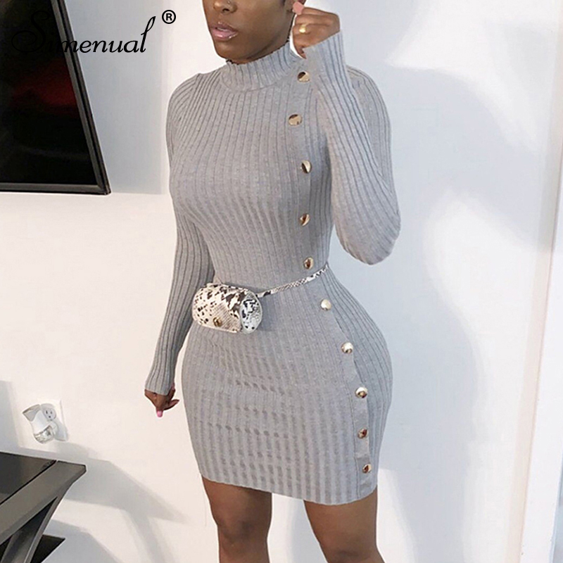 Simenual Ribbed Button Women Mini Dresses Long Sleeve Autumn Winter Fashion Solid Bodycon Dresses Solid Skinny Basic Slim Cloth