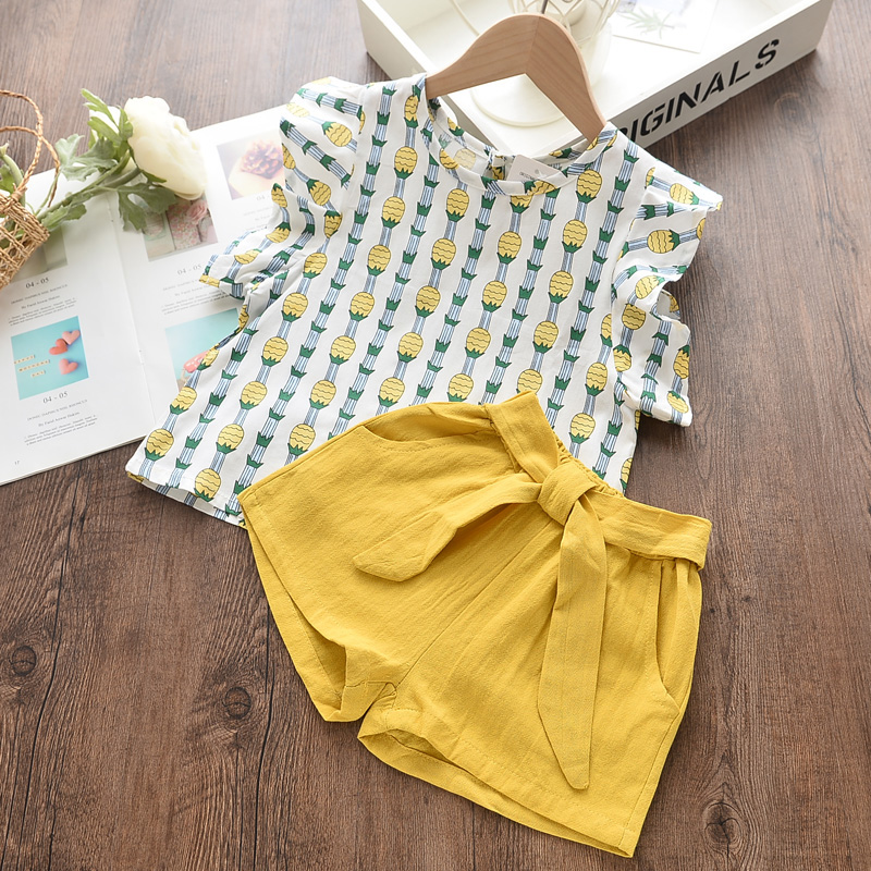 Menoea Girls Suits 2020 Summer Style Kids Beautiful Floral Flower Sleeve Children O-neck Clothing Shorts Suit 2Pcs Clothes 27