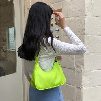 Candy Color Women Nylon Hobos Handbag Fashion Design Ladies Shoulder Bag Large Capacity Female Baguette Armpit Bags Clutch Purse fashion women s clutch bag with engraving and stitching design