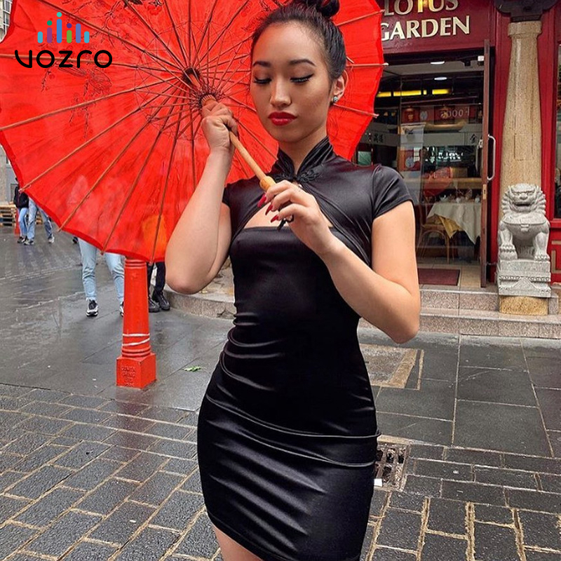 VOZRO In National Customs Element Sexy Women Dress Woman Summer Decorative Pattern Neck Button Solid Color Shawl Fund Vestido
