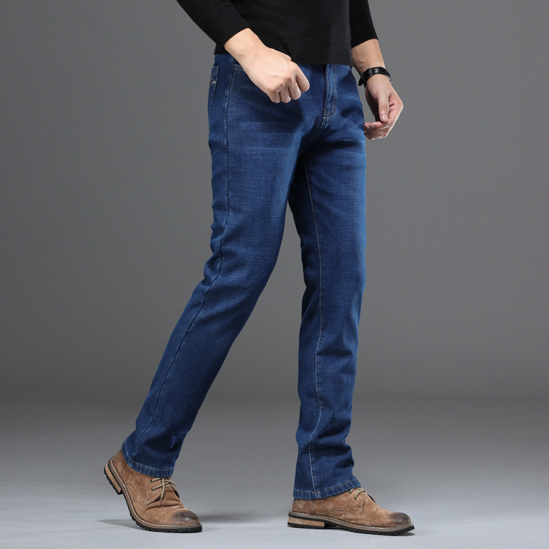 2019 New Style Brushed And Thick Jeans Men's Loose-Fit Middle-aged Winter Pants