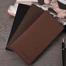 HUGWISER Long Wallet Thin Simple Japanese Korean Multi-Card Slim Men Wallet Clip Minimalist Solid Color Business Luxury Top 2020