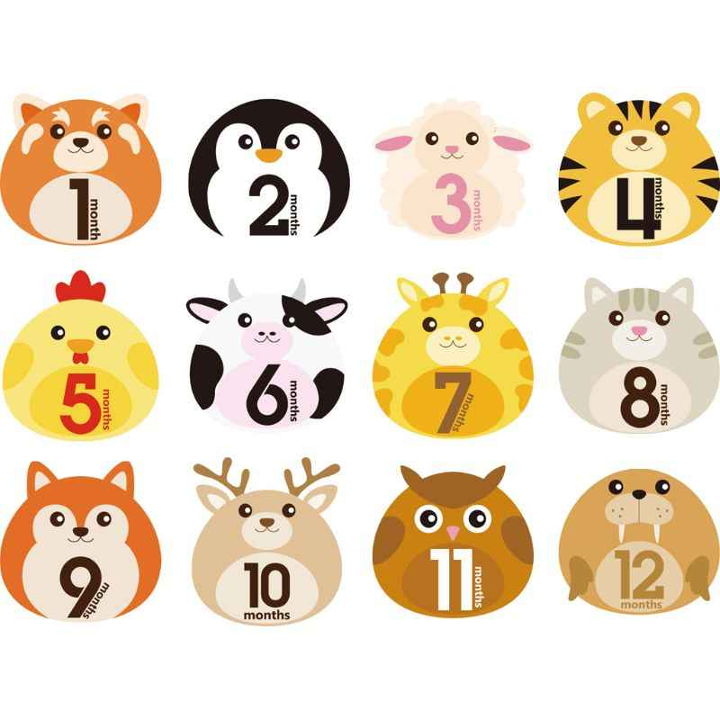12 Stks/set Eerste Jaar Maandelijkse Milestone Foto Sharing Pasgeboren Baby Jongen Meisje Buik Stickers 1-12 Maanden Voor Foto herinneringen