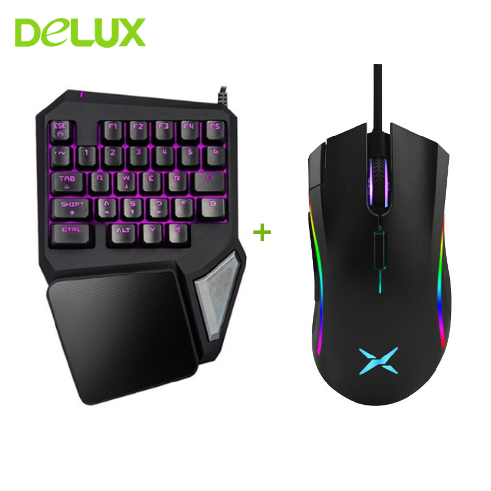 Delux T9 Pro Keyboard Mouse Combos M625 Mice LED Backlit USB Wired Mini Keyboard For Gaming One/Single Hand LOL Overwatch Gamer