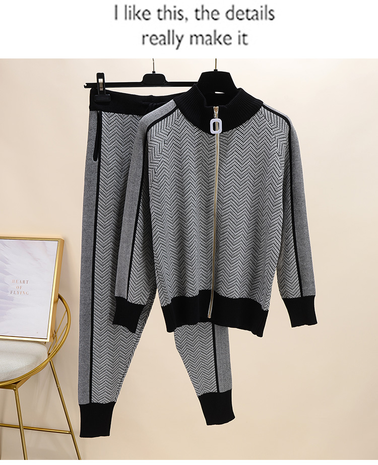 Fall Winter New Tracksuit Woman Color Patchwork Turtleneck Zipper Knitted Cardigans+Pants 2PCS Sets Long Sleeve Knit Top Trouser 57