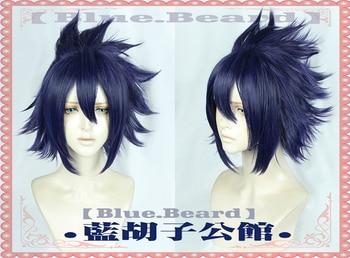 My Hero Universidad Amajiki Tamaki Cosplay pelucas de alta temperatura de fibra de pelo sintético azul púrpura Pelo Corto + red de pelo gratis