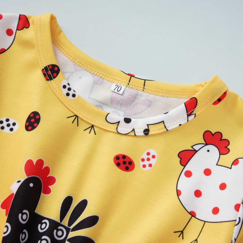 Maluch dzieci dziewczynka ubrania z długim rękawem Romper kombinezon Sunsuit stroje Cute kurczaka Boho kombinezon Romper ubrania stroje