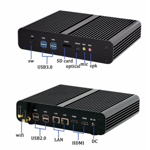 Image 2 - Mới KabyLake Intel Core i7 7560U/7660U 3.8 GHz Quạt Không Cánh Mini PC cổng Quang 2 * LAN Intel Iris plus Đồ Họa 640 DDR4 Barebone PC