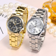Women Arabic numerals Dial Alloy Gold Watches Stainless Steel Band Analog Quartz