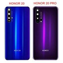 Dla Huawei Honor 20 Pro tylna pokrywa szklana baterii obudowa tylna obudowa do Honor 20 pokrywa baterii + obiektyw aparatu części zamienne